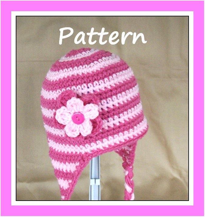 Items similar to PDF Crochet Pattern for Striped Earflap ...