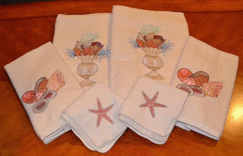 Seashell bath towel set by beckyjacques on etsy for Seashell bathroom set