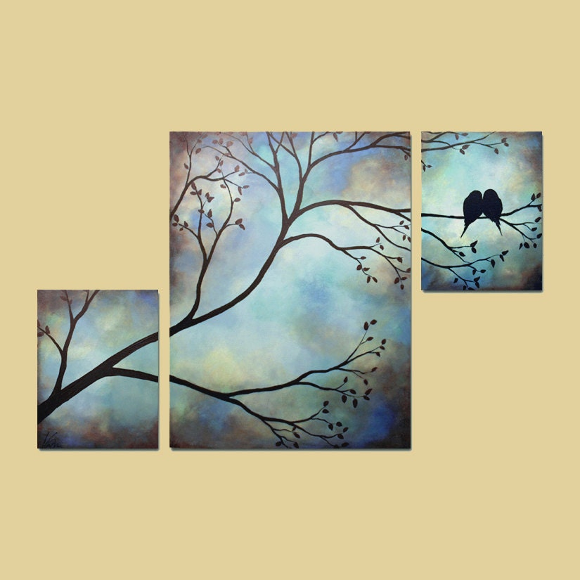 Bird in a tree painting - photo#22
