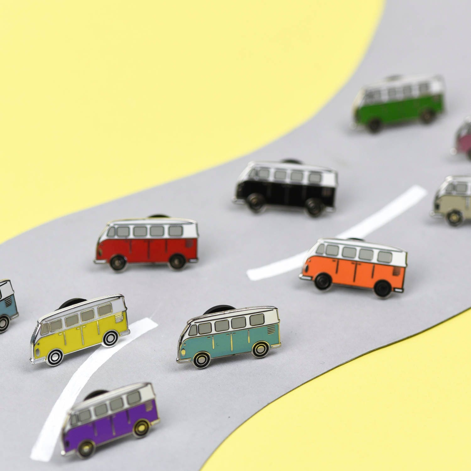 Happy Camper pin  pick any colour  hard enamel pin  perfect gift for vw campervan lovers  vw badge  rainbow  volkswagen  campervan