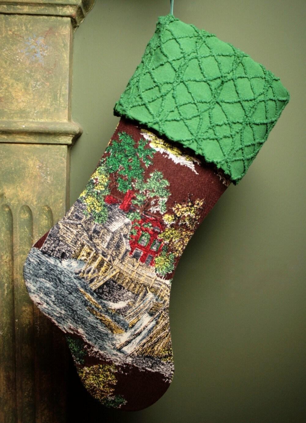 Курьер и Ives Vintage Barkcloth Рождества чулок с Vintage манжеты синель