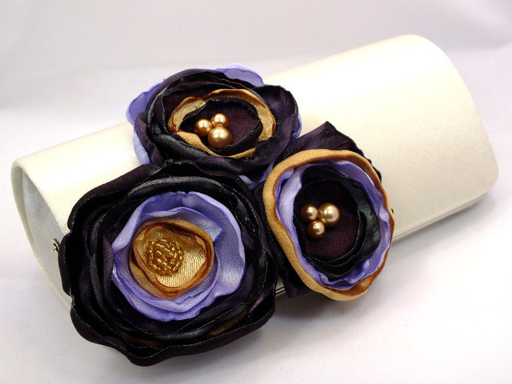 Eggplant Gold Lavender Gray Flowers Bridesmaid Clutch Bridal
