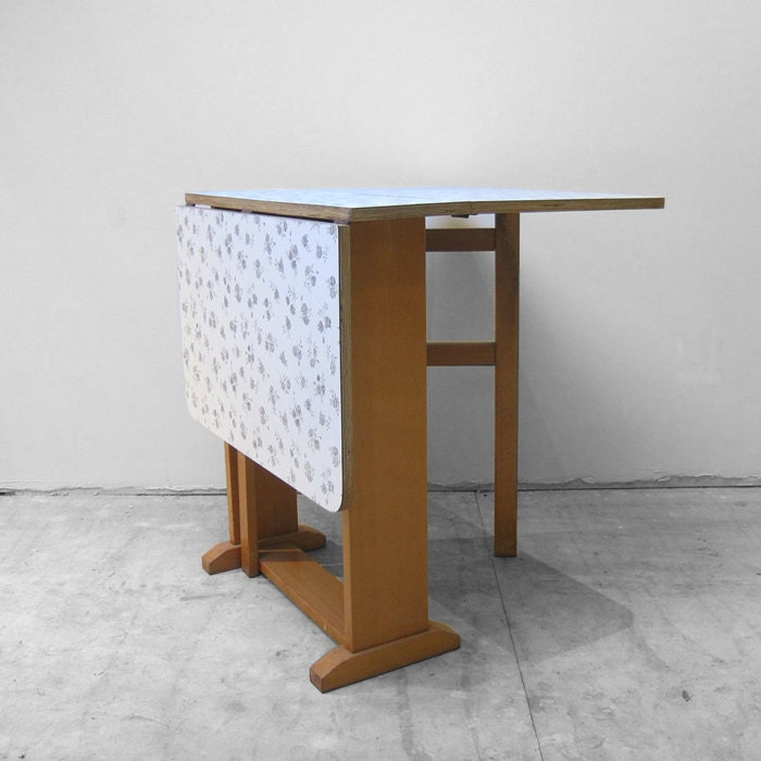 Floral Formica  Dining Table 1950s Grey Kitchen Kitsch