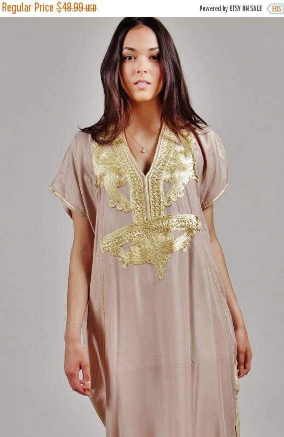 10 OFF Summer SALE  BEIGE Marrakech Resort Caftan Kaftan   resortwearloungewear maxi dresses birthdays honeymoon maternity gifts v