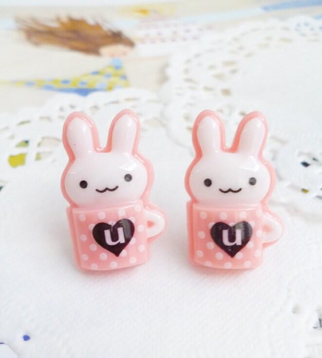 Clay Earrings - Kawaii Bunnies in Pink Polka Dots Mugs