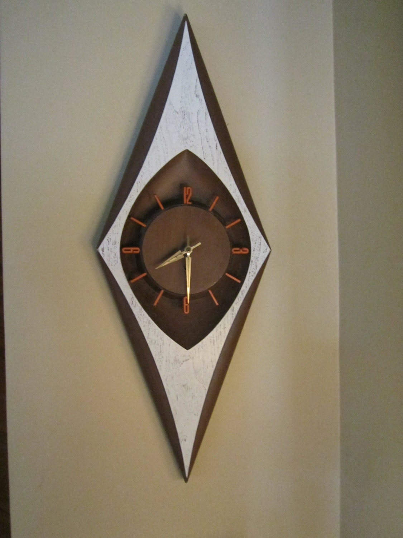 Vintage Mod Burwood Diamond Wall Clock By Jenscloset On Etsy