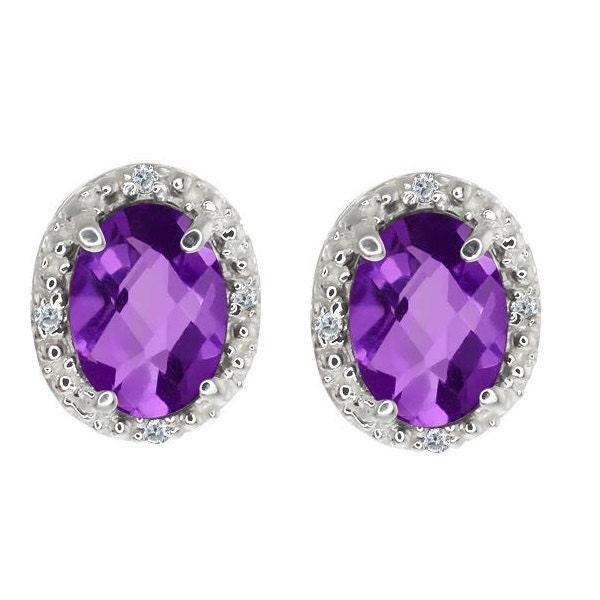 3 carat amethyst oval stud earrings by