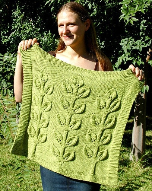Large Leaf Knitting Pattern : Sprout Baby Blanket Knitting Pattern by evergreenknits on Etsy