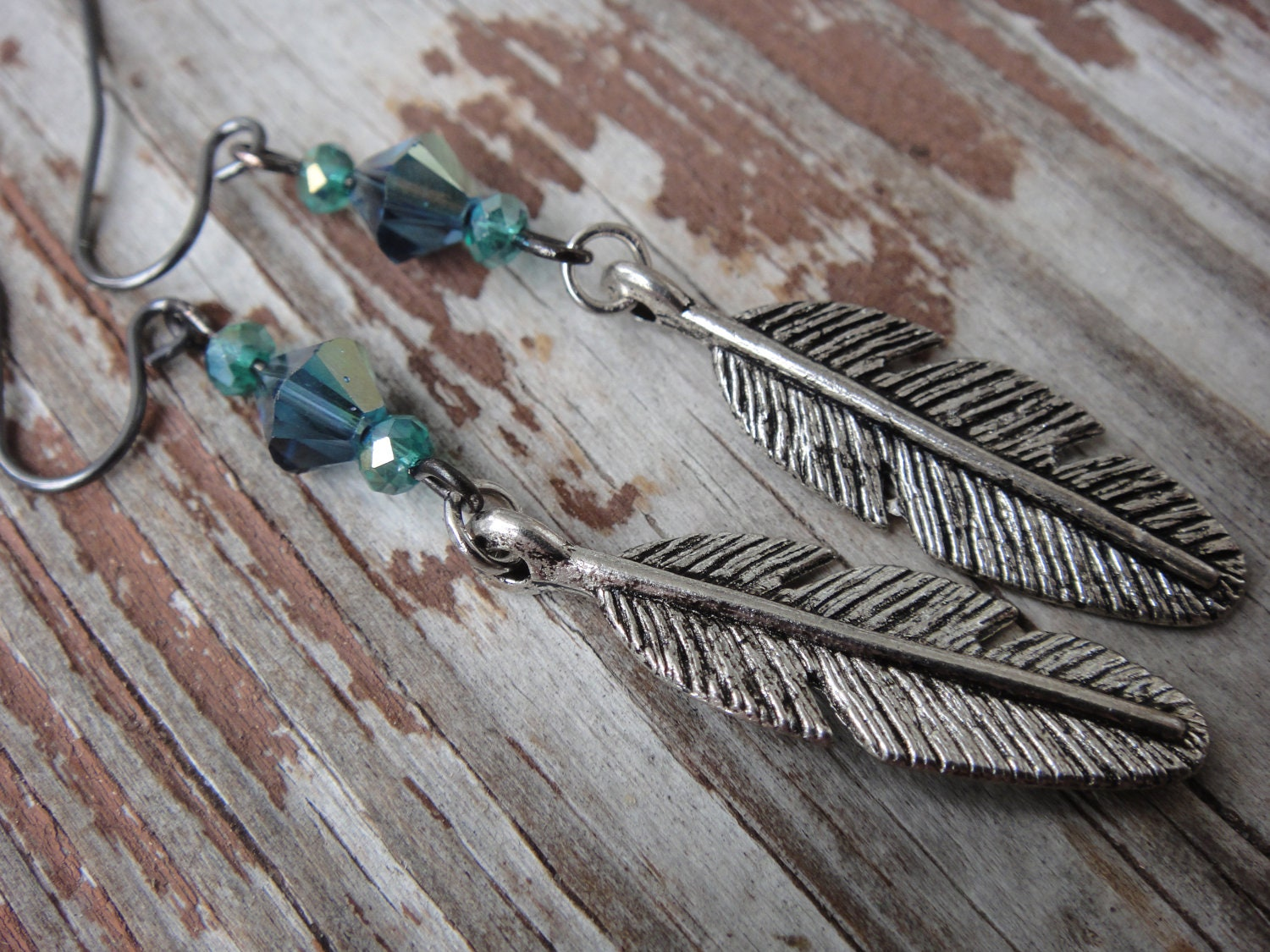 Tribal Blue Feather Charm Earrings, silver and platinum, ready to ship, Christmas gift under 25, dark blue, teal, rondelle - thenak