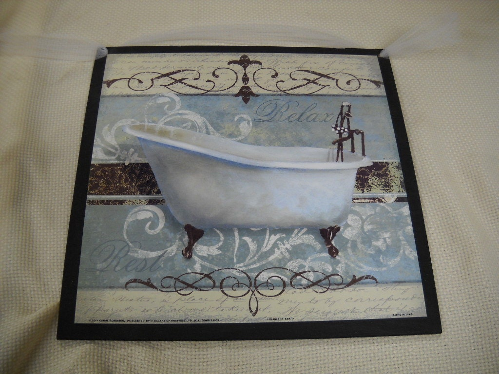 Items similar to relax and rest blue cream black bathroom for Black and cream bathroom accessories