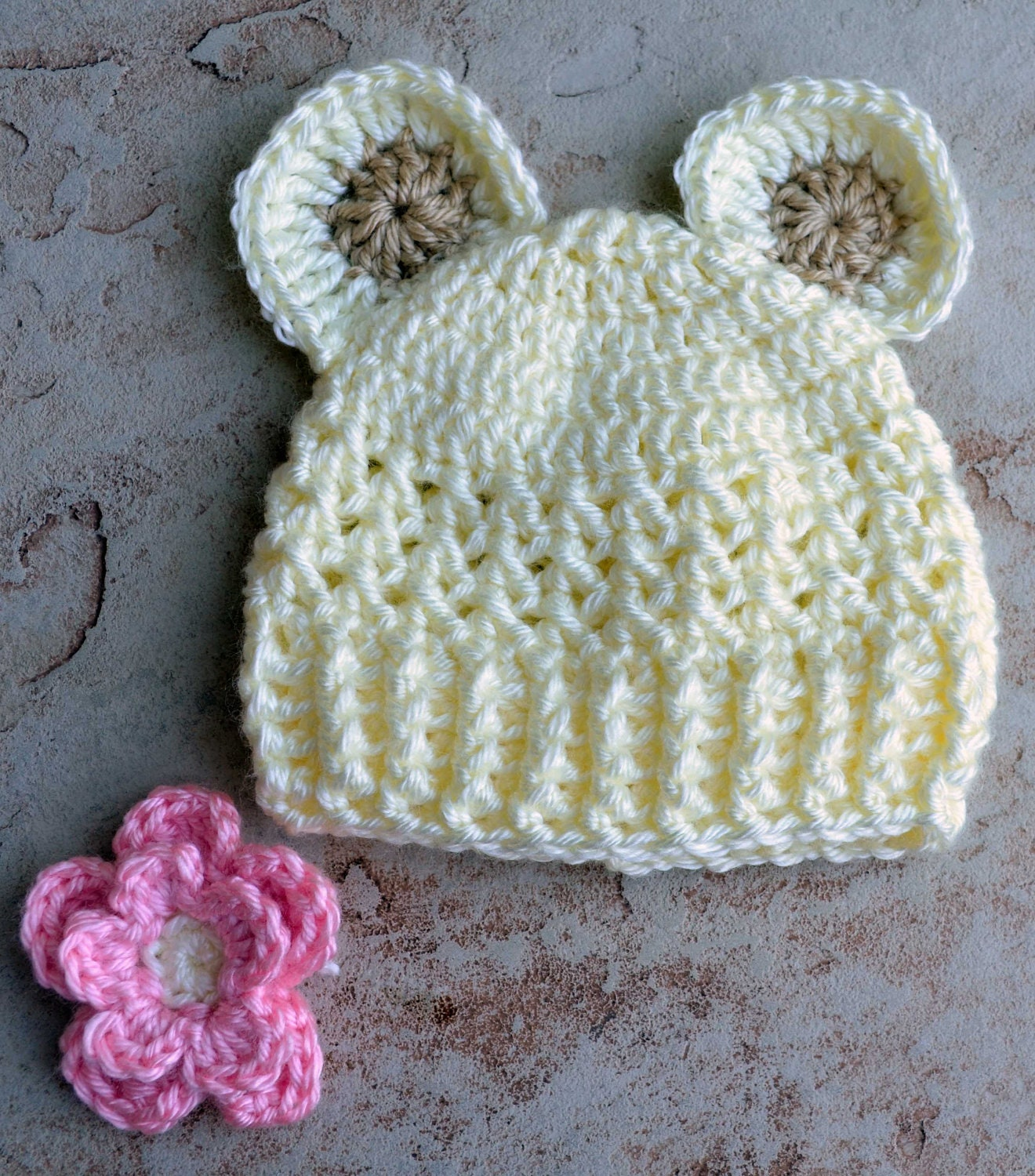 Newborn Crochet Hats, Gender Neutral Baby Hats, Cream Colored Baby Bear Hat, Baby Bear Crochet Hat, Baby Bear Knit Hat, Newborn Bear Hat