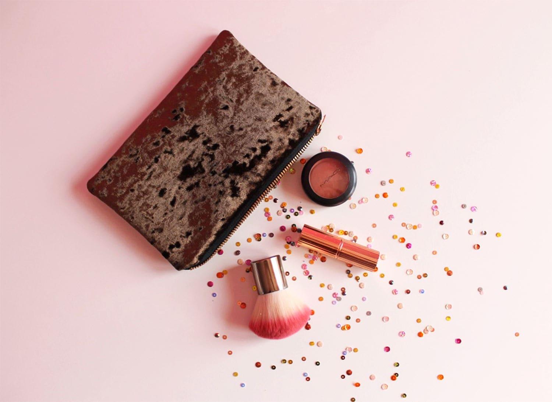 Brown Velvet Makeup Bag Velvet Cosmetic Bag Brown Crushed Velvet Zipped Pouch