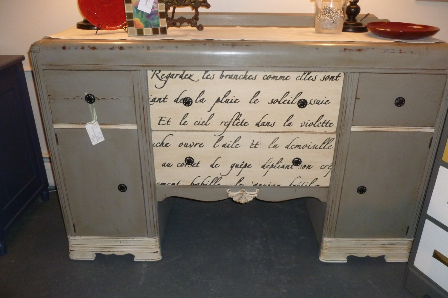 Items Similar To Vintage Waterfall Buffet Painted Furniture Ready To Ship On Etsy