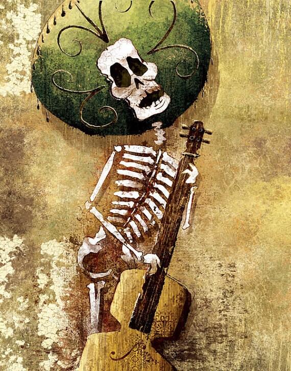 Dia De Los Muertos Calavera Bassist 18x24 Art By Boxingbear