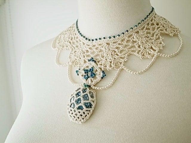 Irish Filigree Crochet Necklace Free Pattern : Irish Crochet Lace Jewelry Archaic Beauty by DorisChiStudio