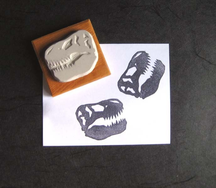 T. Rex Skull - Hand-Carved Stamp - extase