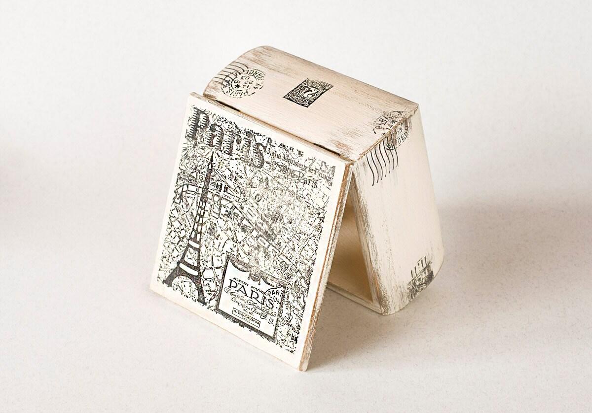 "Paris  Wooden Box, Treasury  Box ,  Jewelry box , distressed box ,eiffel tower, vintage  5.2 ""x 5.2 "" x 3 "" - MyHouseOfDreams"