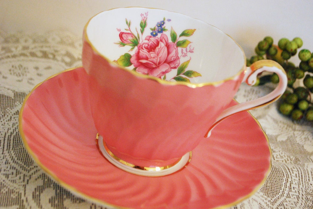 Aynsley Tea Cup and Saucer, Coral Pink Swirl