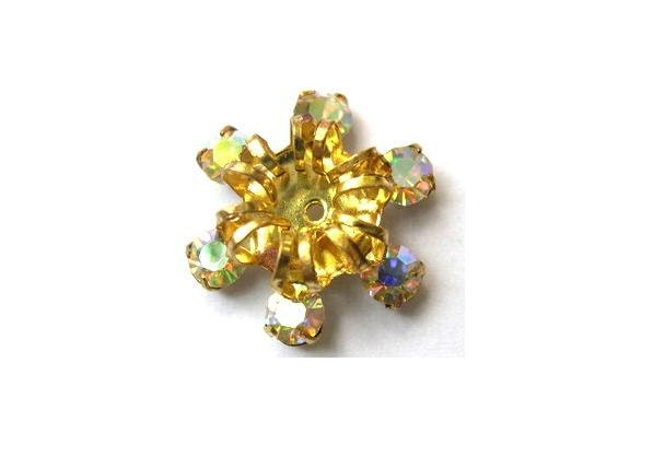 swarovski bead vintage flower shape brass setting by oritdotan
