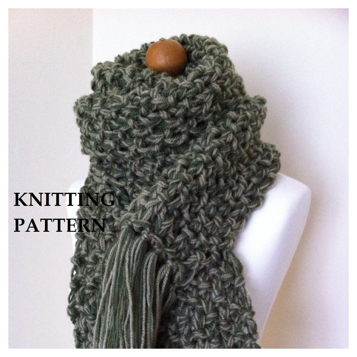 KNITTING PATTERN Chunky Pattern Scarf/ Scarf by SewSweetObsession
