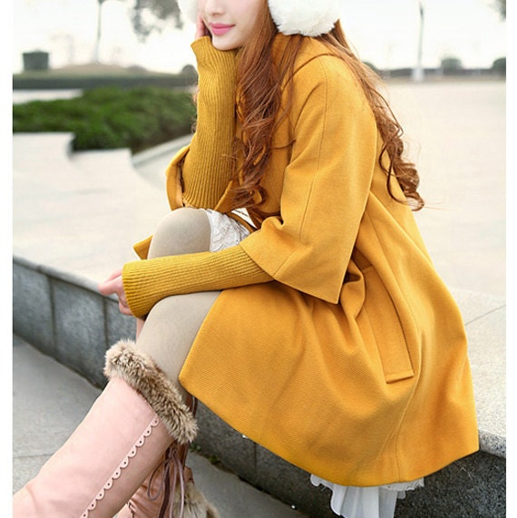 Euramerican wool coat winter outerwear trendy cloak coat cape coat yellow jacket cape BJ07,s,m,l,xl - Dressbeautiful