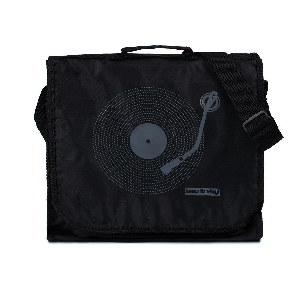 Keep It Vinyl Record Bag  Minimal Minimalist Bass Deck Decks Turntable LP Old School Hip Hop Retro Style DJ Records Messenger Shoulder Bag