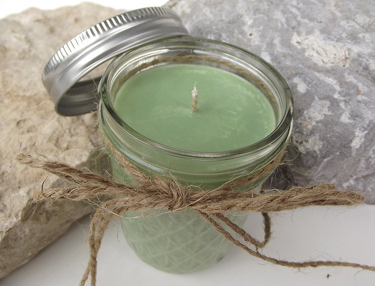 Hand Poured, Butterfly Meadows Scented, Soy Wax Candle -- 8 ounce Quilted Mason Jar