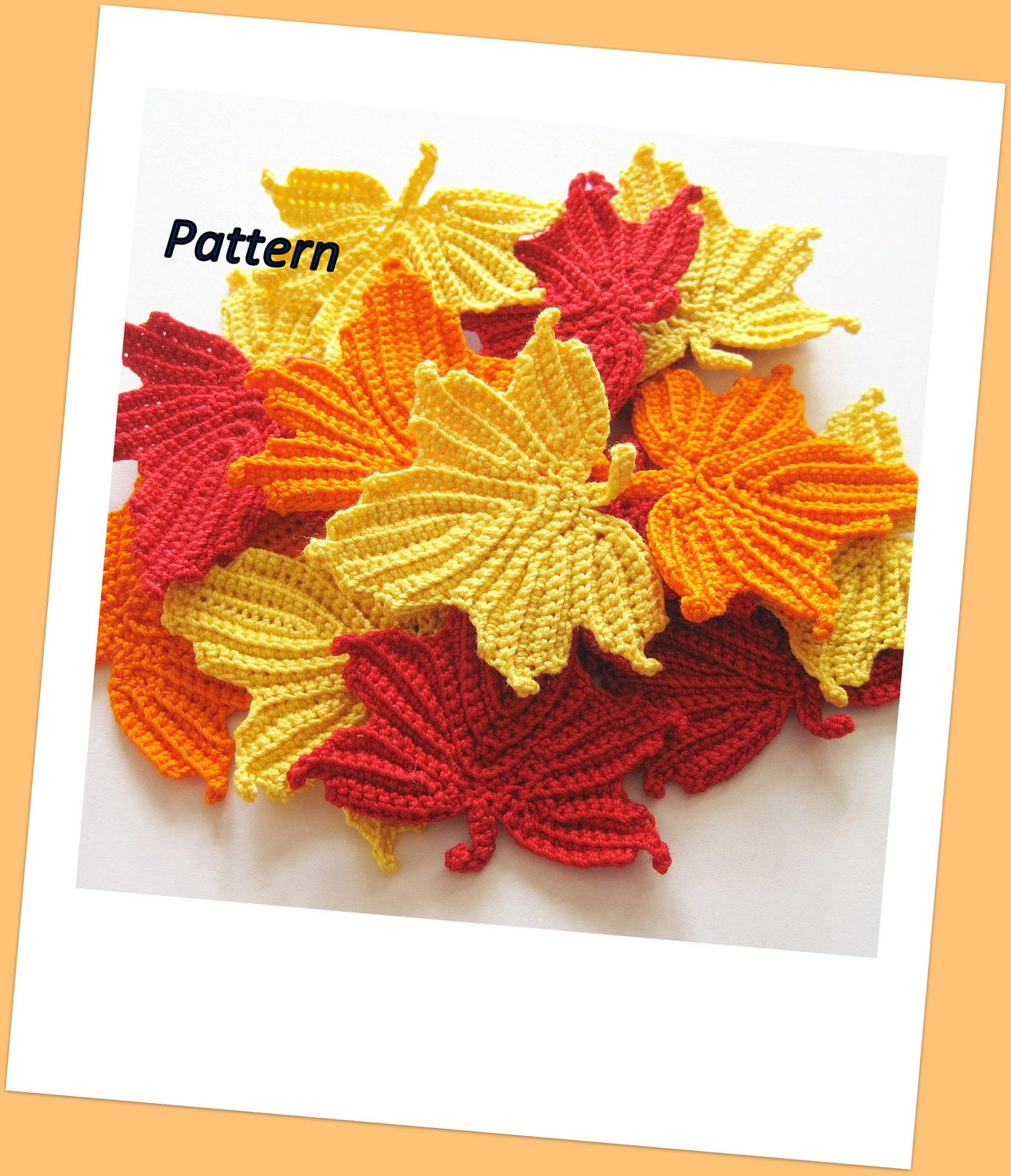 Free Maple Leaf Potholder Crochet Pattern : Maple Leaves Crochet Pattern by GoldenLucyCrafts on Etsy