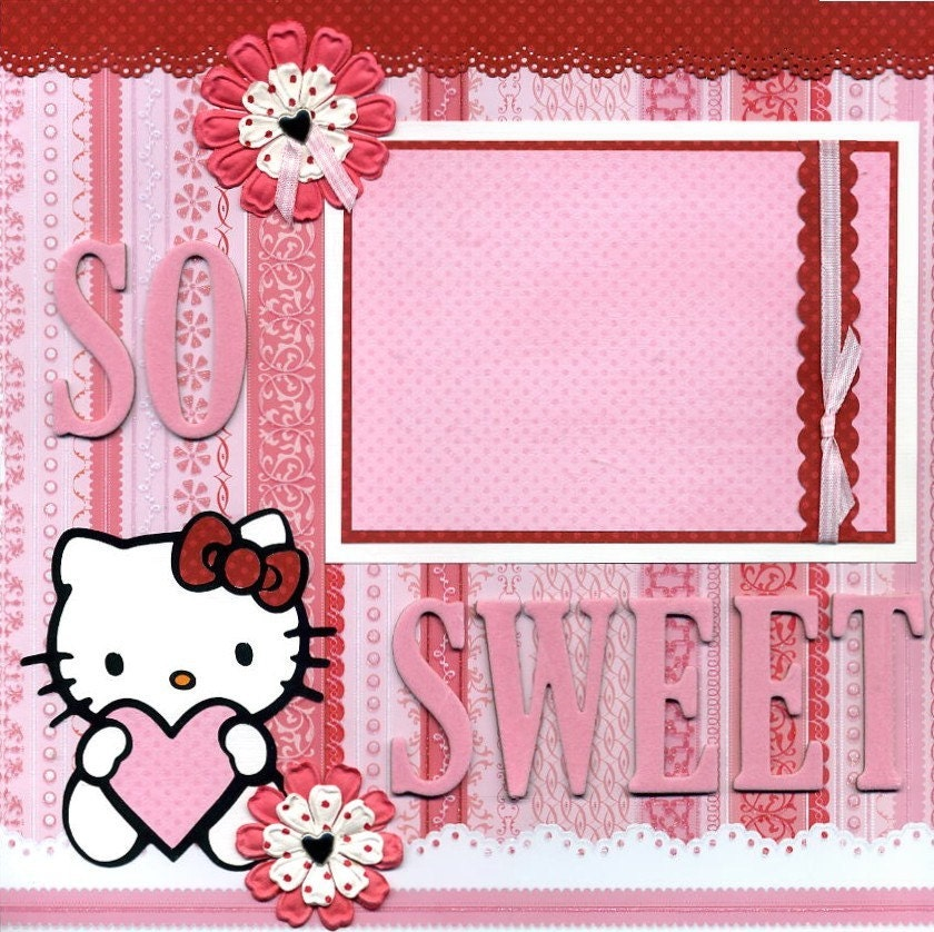hello kitty girly scrapbook layout paper piecing by