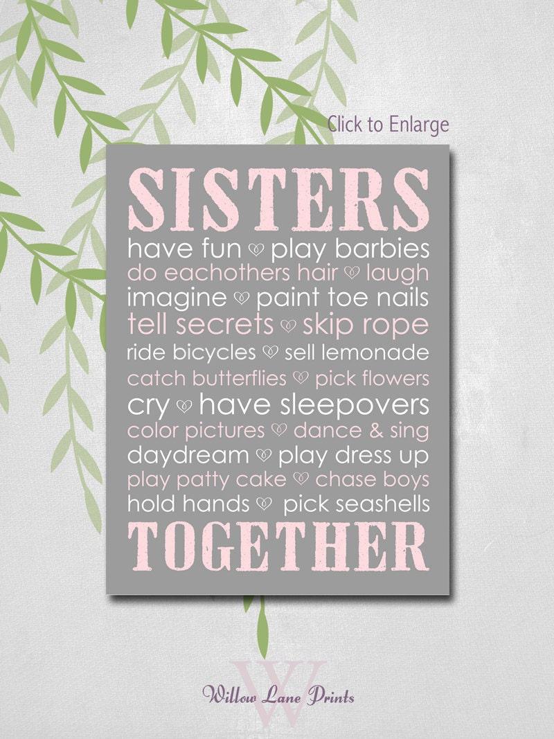 Sisters Wall Art Sisters Nursery Decor Twin By