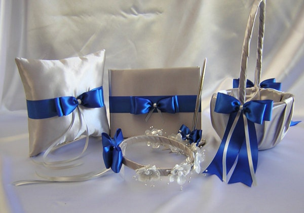Wedding Silver Royal Blue Flower Girl Basket Halo Ring Pillow Guest Book Pen