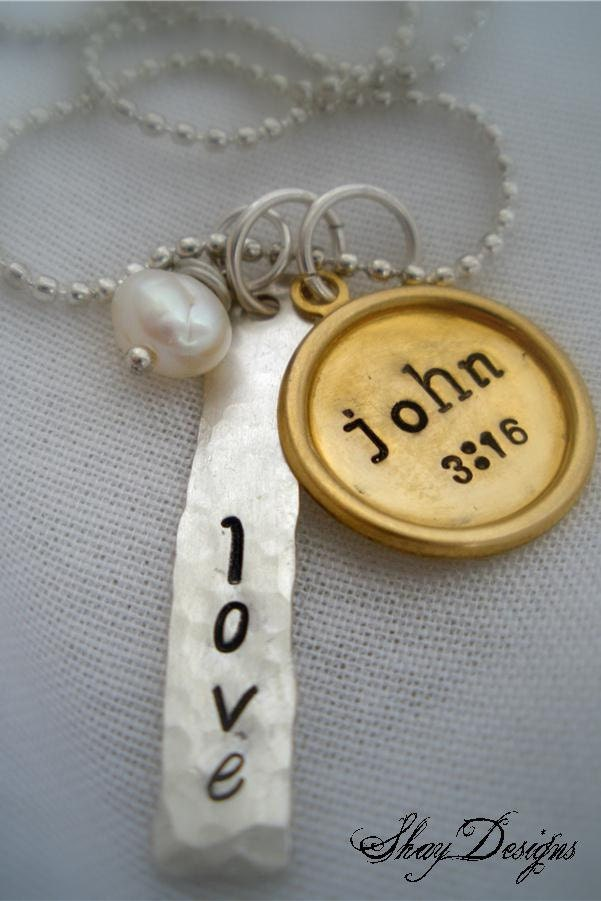 Stamped Silver Filled and Brass Scripture Necklace