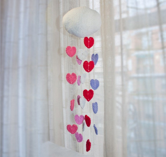 PDF CROCHET PATTERN & Mobile Tutorial -  Hearts Mobile  -  Permission to Sell Finished Items