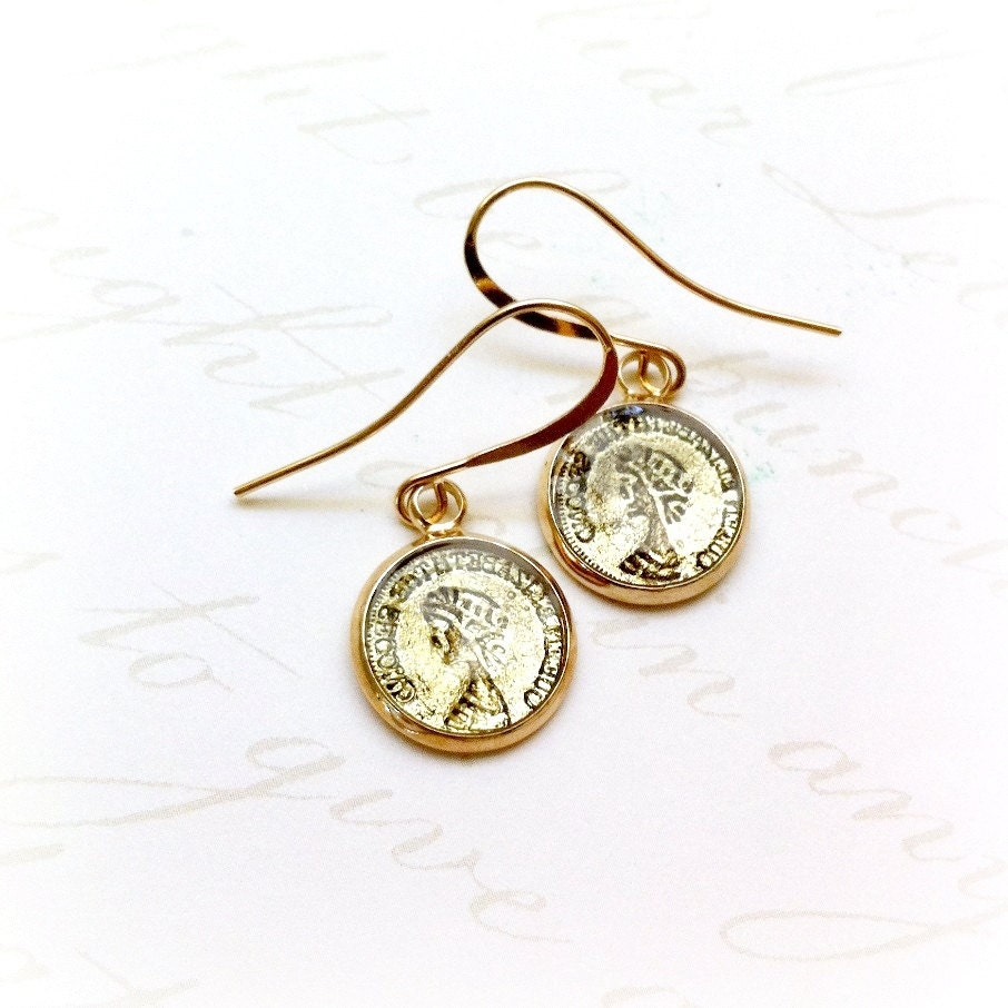 gold coin earrings coin jewelry earrings by