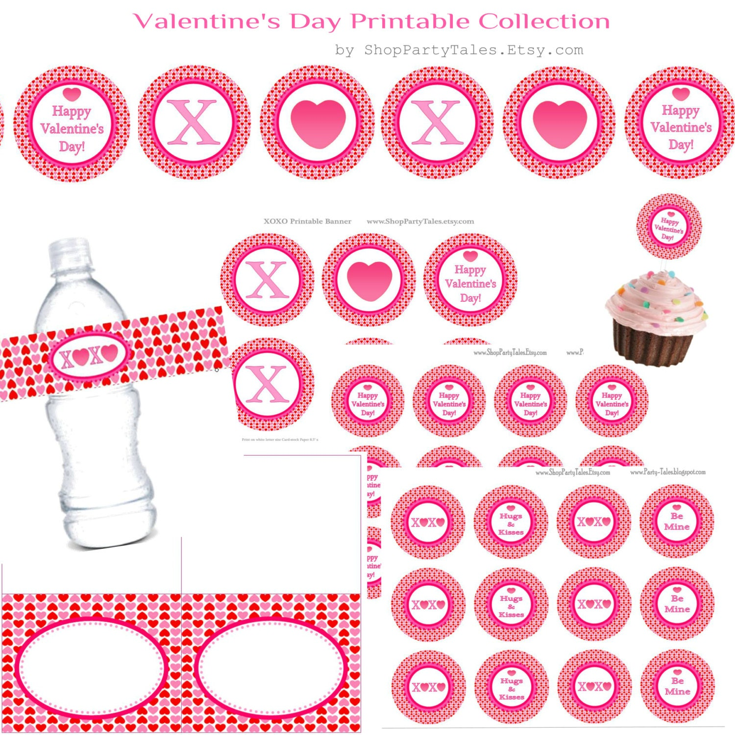 Valentine's Day party COLLECTION cupcake toppers by ShopPartyTales