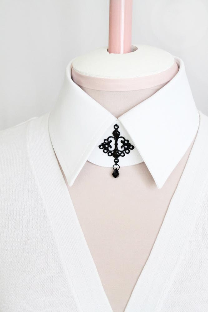 CIJ Sale 10% Off White Collar White Detachable Collar with Black Gothic Buckle and Crystal Pendant - Goth Steampunk Hipster Shirt Collar
