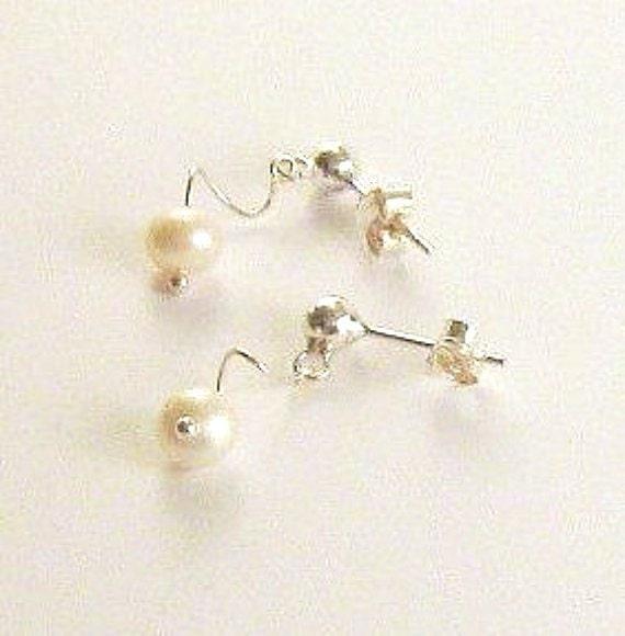 Freshwater Pearl earrings Real silver earrings Drop earrings Silverpearl drops Delicate earrings Wedding earrings Bridal wear Earring gift