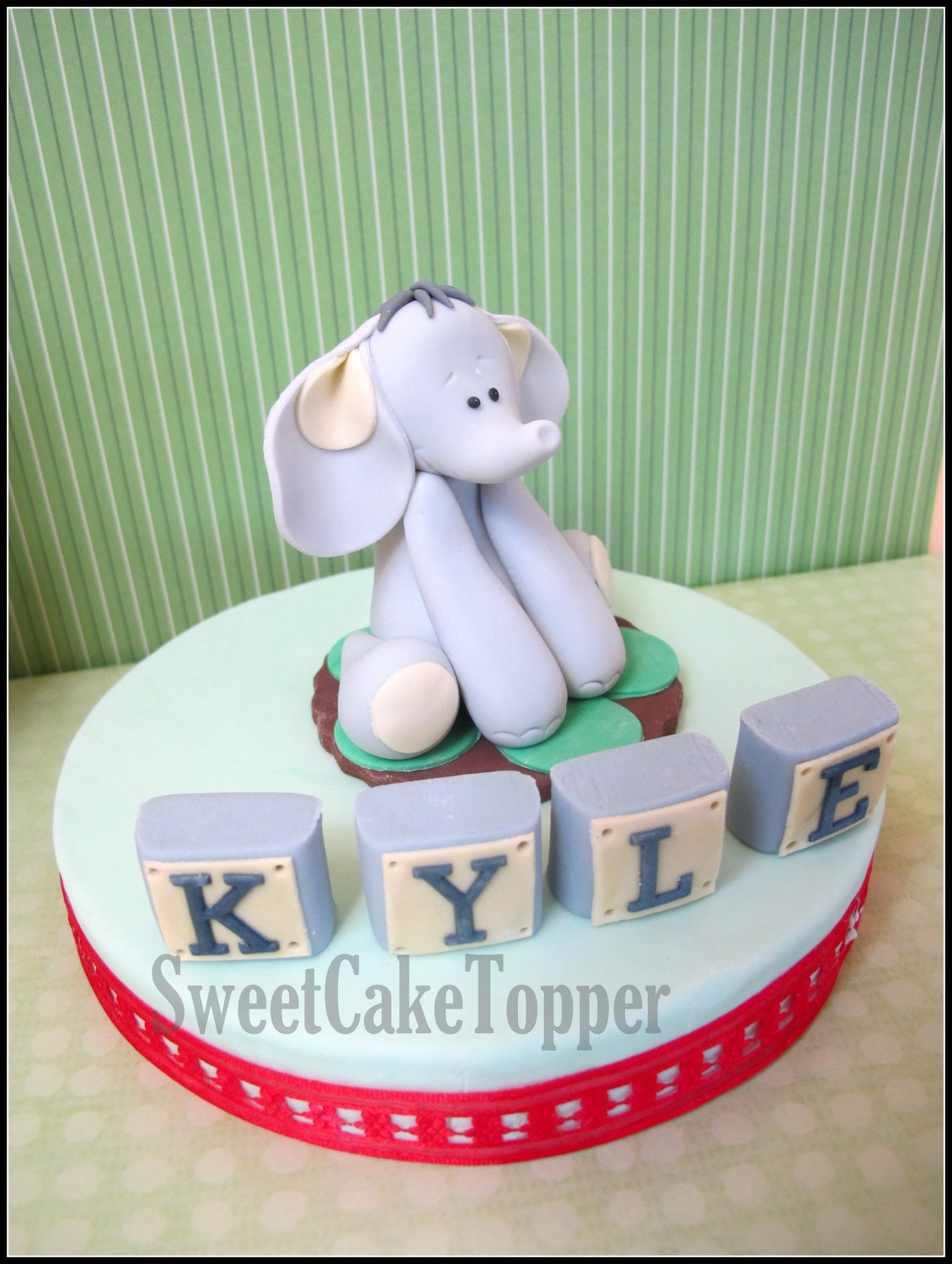 Edible Elephant Cake Decorations : 3 Elephant Fondant Cake Topper Handmade Edible by ...