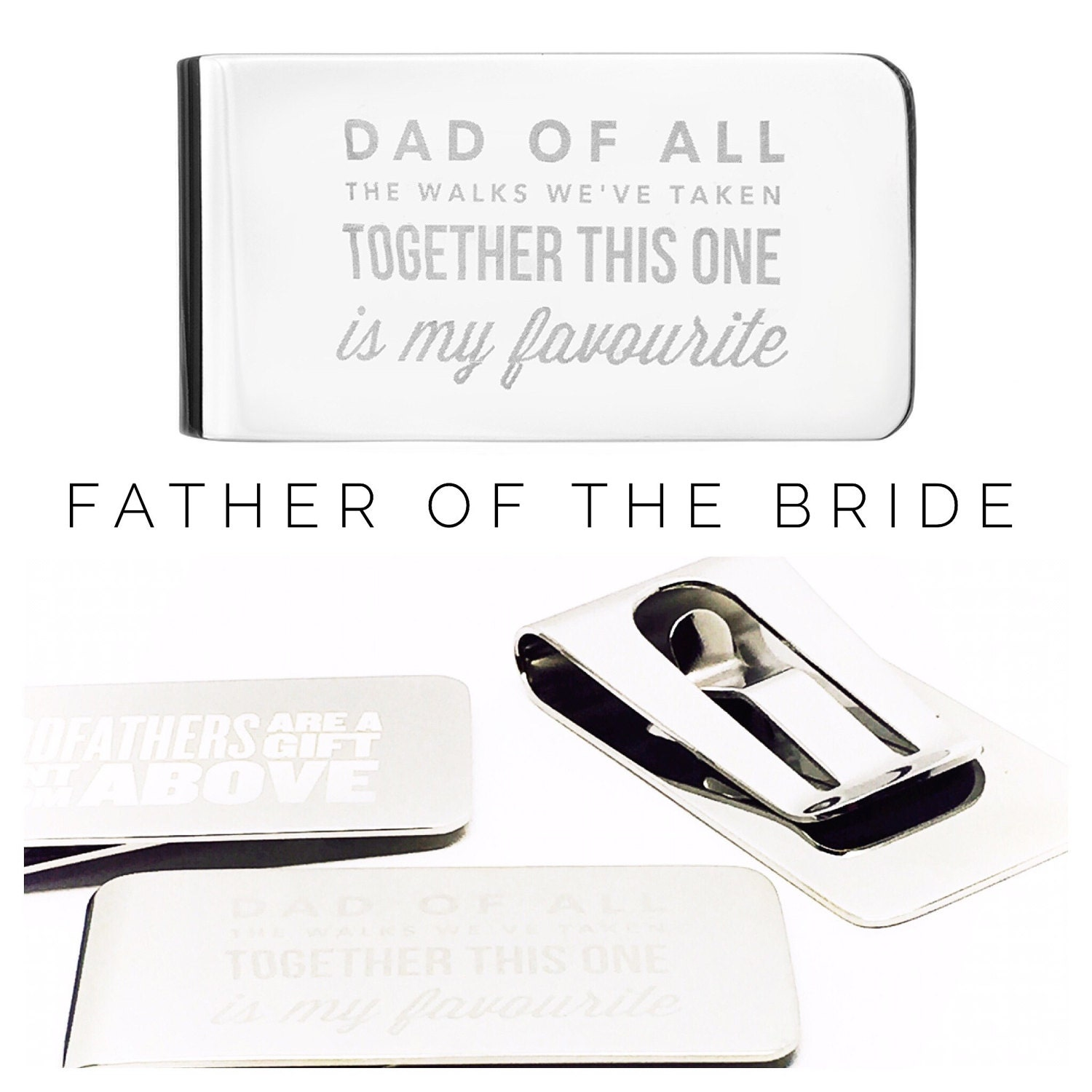 Father of the Bride Gift  Personalised Money Clip  Wedding Gift  Personalized Money Clip (W254)
