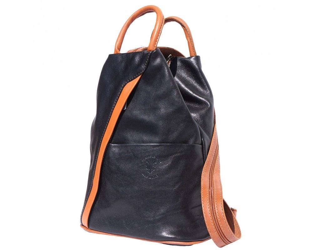 Italian Leather Backpack Shoulder Bag Handcrafted In Florence Italy in black  tan 2061