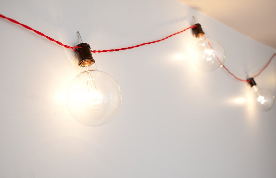 Vintage String Lights Etsy : Stanley String Lights with Vintage Style Cloth Cord by dylangrey