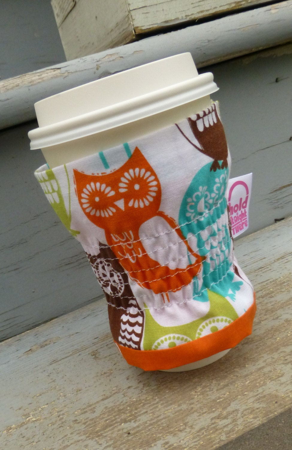 JAVA JACKET - Reusable Beverage Sleeve - Elasticized Shirred Coffee Cozy  - Michael Miller's Swedish Owl Print Cotton Fabric - HolditRightThereBags