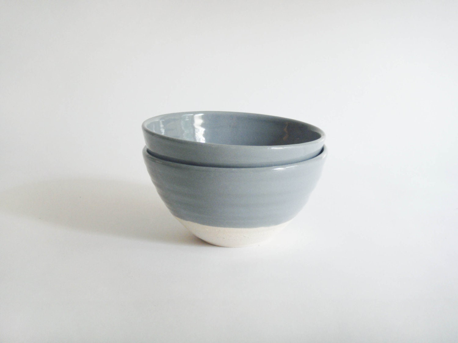 Two small grey and white pottery bowls, minimal and fresh, Forest series - juliapaulpottery
