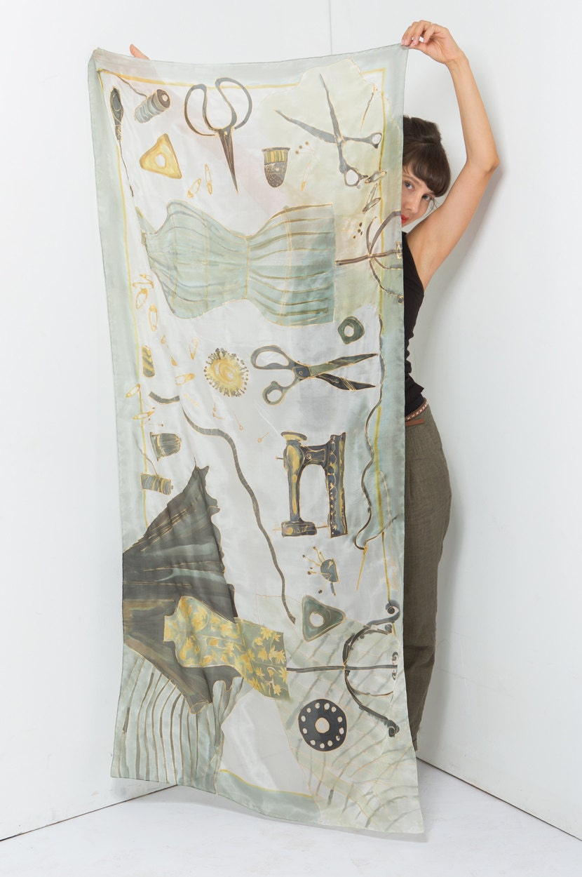 Dressmakers Atelier silk scarf. White, neutral scarf shawl painted by hand. Long fashion handpainted scarf. Luxurious gift for mom - klaradar