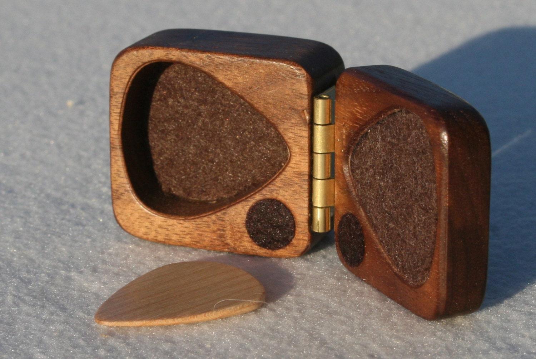 wooden guitar pick box ooak black walnut hard wood felt lined magnetic latch perfect gift - debandf