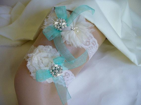 Wedding Garter/ Tiffany Blue Garter/ Bridal Garter/ Ivory  Garter/ Blue Garter/  Lace Garter Garter Set/ / Rhinestones/  Pearls/ Flowers