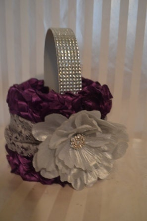 Purple Flower Girl Basket-Purple ruffle basket with silver lace and peony-Rhinestone handle