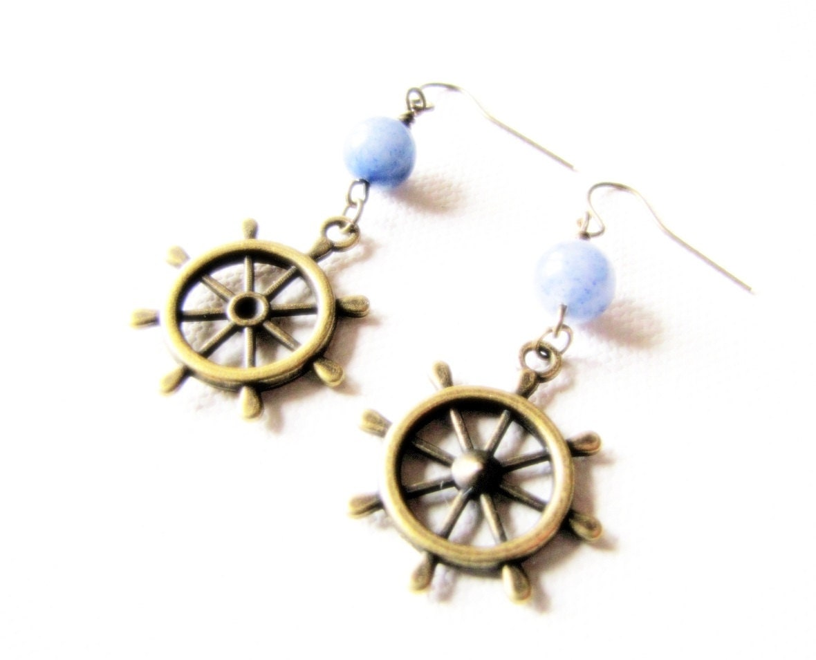 Nautical Earrings Ships Helm Wheel Sailor Earrings Ocean Yaught Wear Sailing Summer Jewelry Blue Nautical - TwigsAndLace