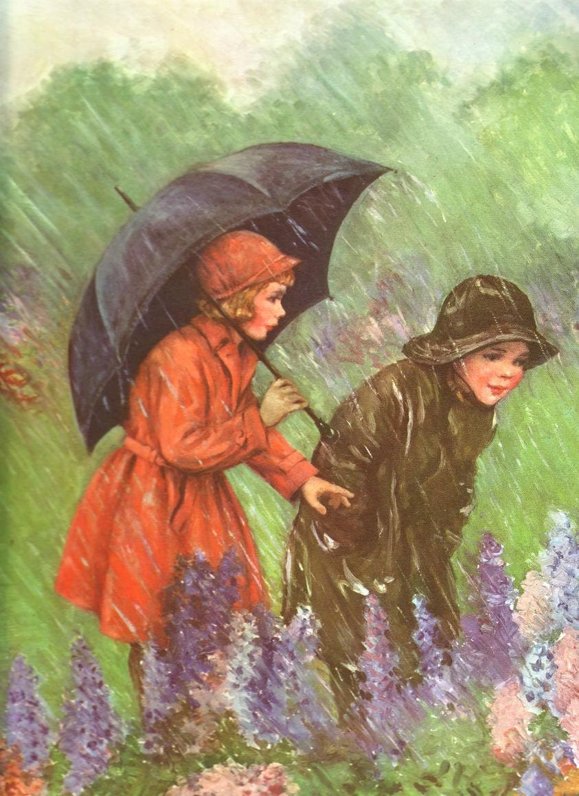 reserved sale 2 vintage lithograph rainy day by beadandbag 1950s clip art free 1950s clip art free