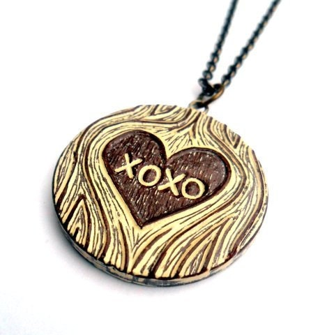 XOXO Hugs and Kisses Faux Bois Woodgrain Heart Necklace  - Tree Hugs and Kisses Me - blockpartypress